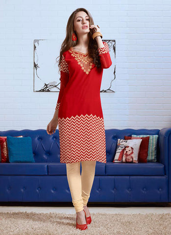 Red Color with Embroidery & Printed Work Incredible Readymade Kurti