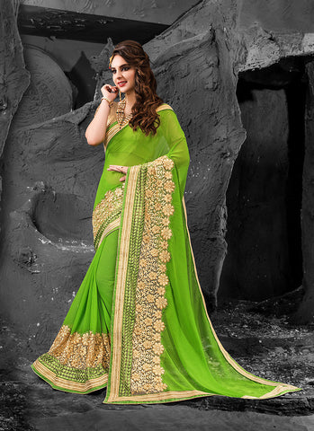 Beautiful Embroidered Pallu Saree in Parrot Green Color