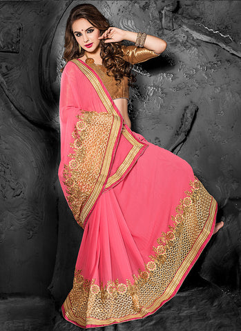 Attractive Looking Pink Chiffon Ethnic Saree For Women