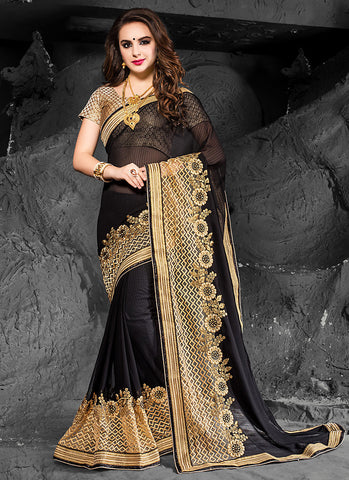 Charming Embroidered Pallu Saree in Black Color