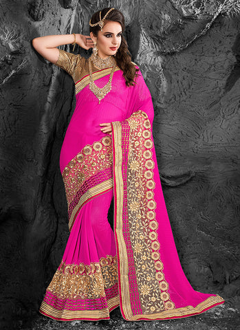 Fine-looking Embroidered Pallu Saree in Deep Pink