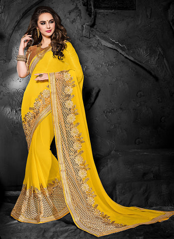Lovely Embroidered Pallu Saree in Butter Scotch Color