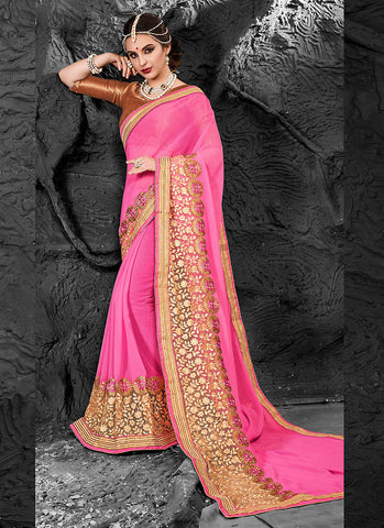 Deep Pink Chiffon Saree with V Neck Blouse