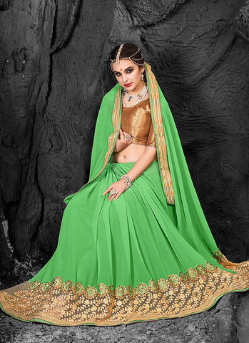 Mint Green Saree With Fine-looking Embroidered Pallu