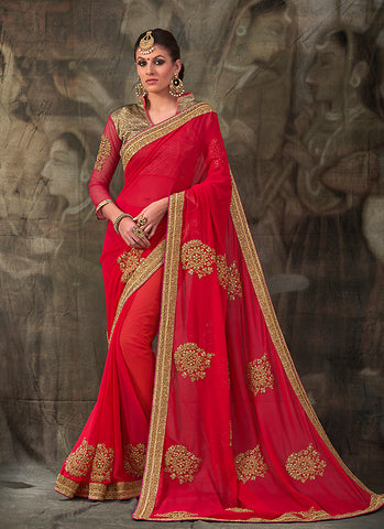 Fine-looking Embroidered Pallu Saree in Deep Scarlet
