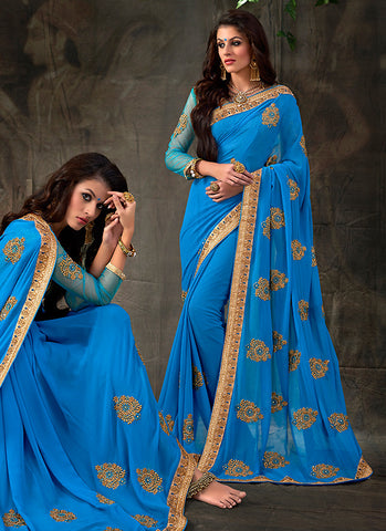 Striking Embroidered Pallu Saree in Azure Blue Color