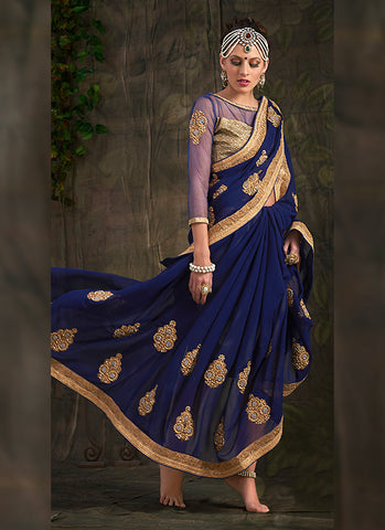 Navy Blue Color Saree With Attractive Embroidered Pallu