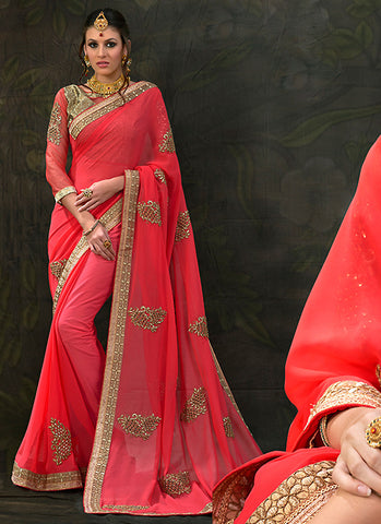 Traditional Looking Chiffon Red Saree For Womens