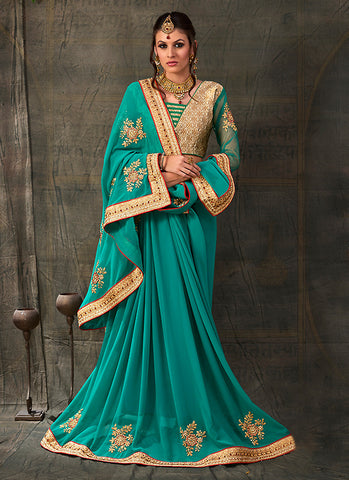 Embroidered Pallu Saree in Teal Blue