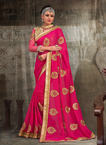 Attractive Embroidered Pallu Saree in Deep Pink Color