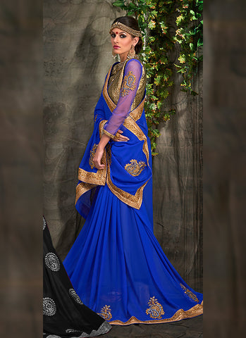 Blue Saree With Fine-looking Embroidered Pallu