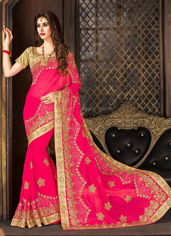 Deep Pink Saree With Exquisite Embroidered Pallu