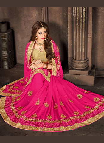 Deep Pink Color Saree With Charming Embroidered Pallu