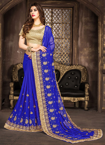Lovely Embroidered Pallu Saree in Blue Color