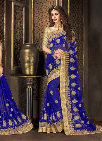 Gorgeous Embroidered Pallu Saree in Blue Color