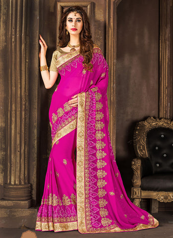 Appealing Embroidered Pallu Saree in Deep Pink