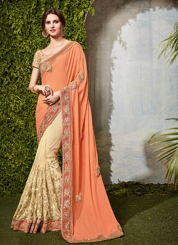 Apricot Color Saree With Cute Embroidered Pallu