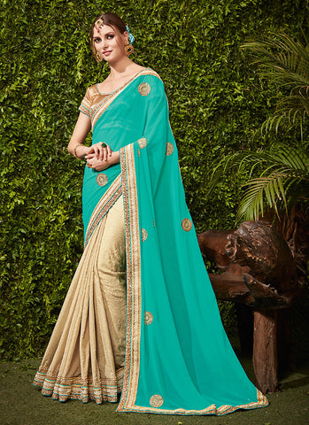 Women's Attractive Looking Turquoise Butta Work, Lace, Mirror & Beads Ethnic Saree