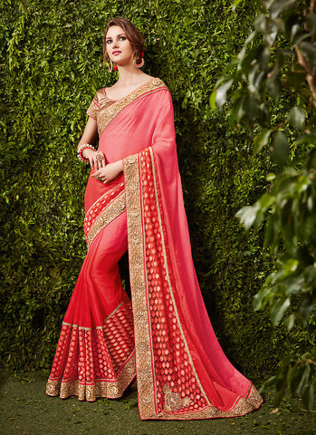 Women's Attractive Looking Pink Butta Work, Lace, Mirror & Beads Ethnic Saree