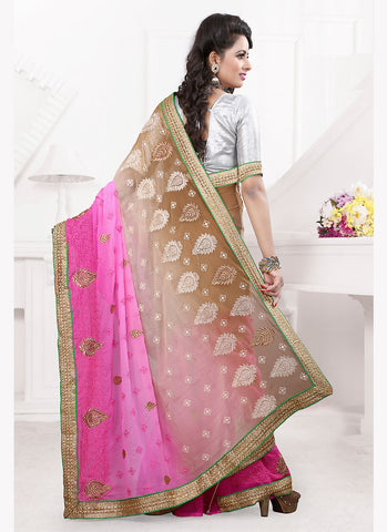 Pink Saree With Embroidered Pallu