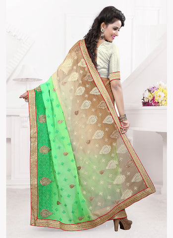 Mint Green Saree with Embroidery Work