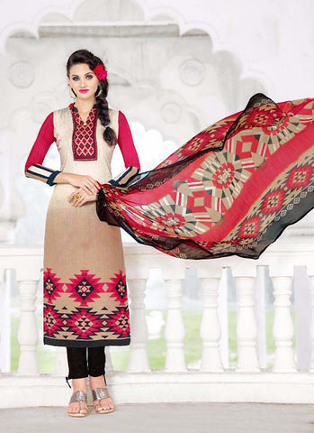 Straight Cut Style Incredible Salwar Kameez in Brown & Satin Fabric