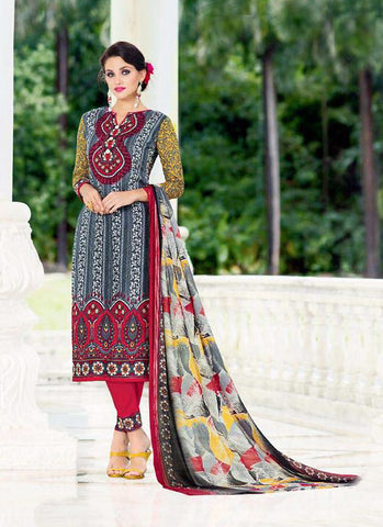 Straight Cut Style Grey with Printed Work Incredible Unstitched Salwar Kameez