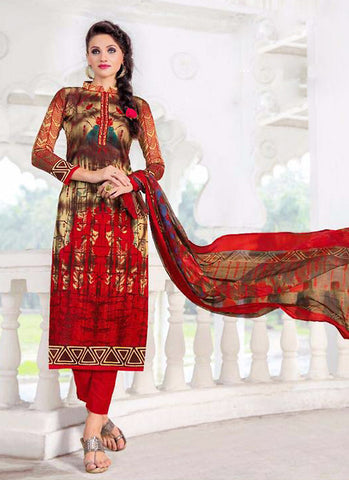 Straight Cut Style Incredible Salwar Kameez in Red & Satin Fabric