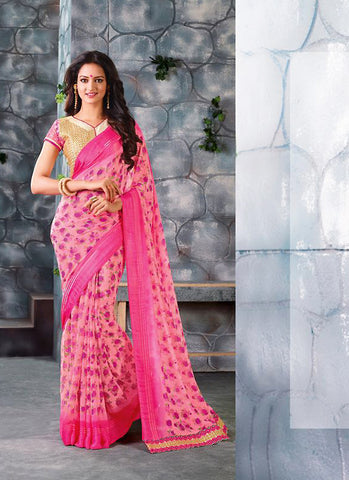 Gorgeous Printed Pallu Saree in Pink Color
