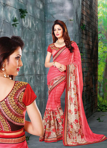 Charming Plain Pallu Saree in Pink Color