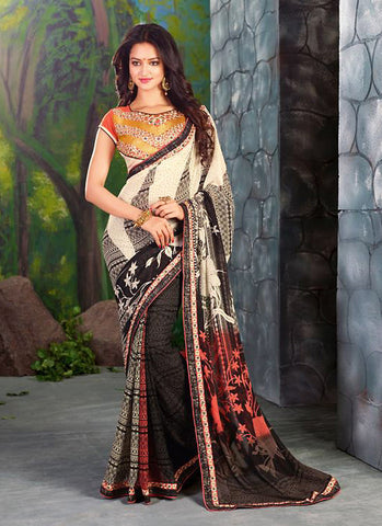 Women's Attractive Looking White Lace & Printed Ethnic Saree