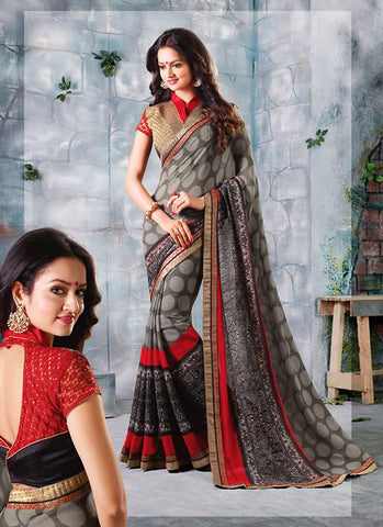 Slate Grey Color Saree With Cute Printed Pallu