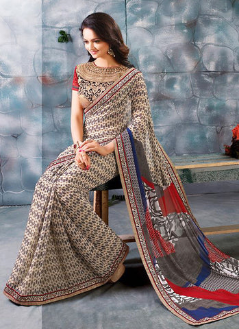 Women's Attractive Looking Beige Lace & Printed Ethnic Saree