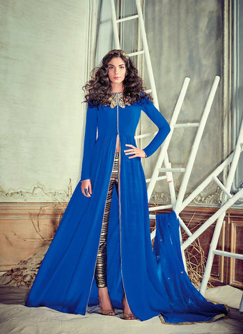 Achkan Style Blue with Patch Work Astounding Unstitched Salwar Kameez