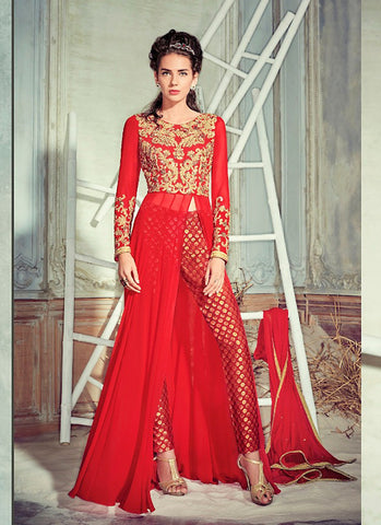 Achkan Style Red with Lace Work Astounding Unstitched Salwar Kameez