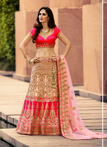 Women's Pretty A Line Lehenga Style in Salmon With Mirror Work Dupatta