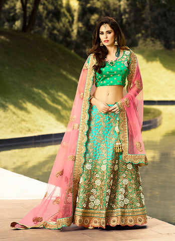 Women's Satin Fabric & Turquoise Pretty A Line Lehenga Style