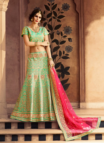 Women's Pretty A Line Lehenga Style in Mint Green With Crystals Stones Work Dupatta