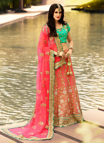 Women's Art Silk Fabric & Salmon Pretty A Line Lehenga Style With Mirror Work Dupatta