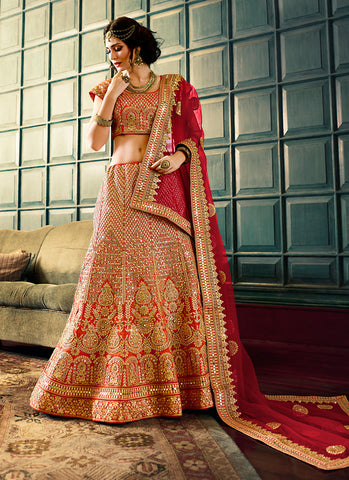 Women's Art Silk Fabric & Orange Pretty A Line Lehenga Style