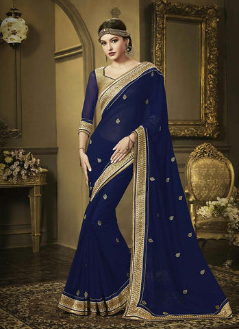 Pretty Embroidered Pallu Saree in Navy Blue