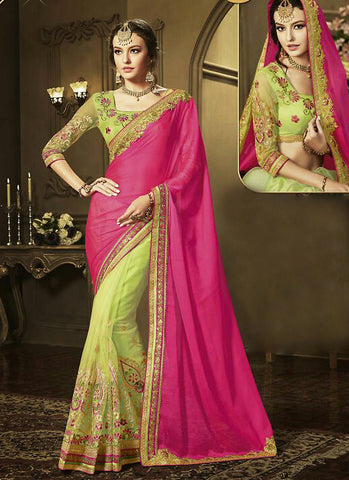 Deep Pink Georgette Saree with Square Neck Blouse