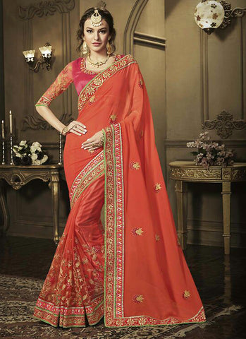 Attractive Looking Ethnic Orange Resham Saree For Womens