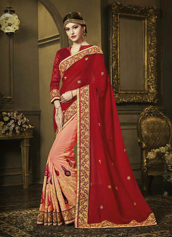 Fashionable Red Color Saree With Wonderful Embroidered Pallu