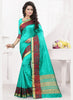 Attractive Looking Silk Turquoise Ethnic Saree Womens