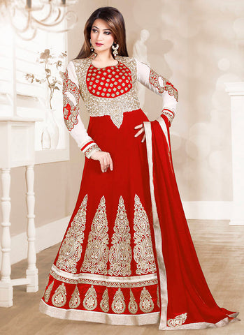 Red with Lace Work Astounding Unstitched Salwar Kameez