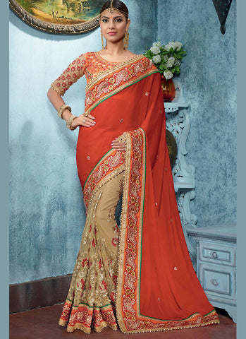 Deep Scarlet Saree With Lovely Fancy Pallu