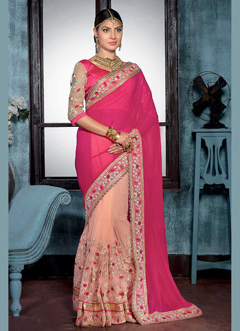 Georgette Based Embroidered Pattern Saree