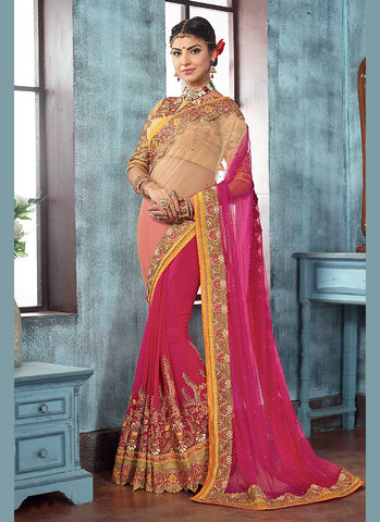 Deep Pink Color Saree With Appealing Fancy Pallu