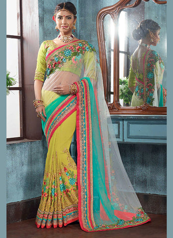 Parrot Green Saree With Striking Fancy Pallu